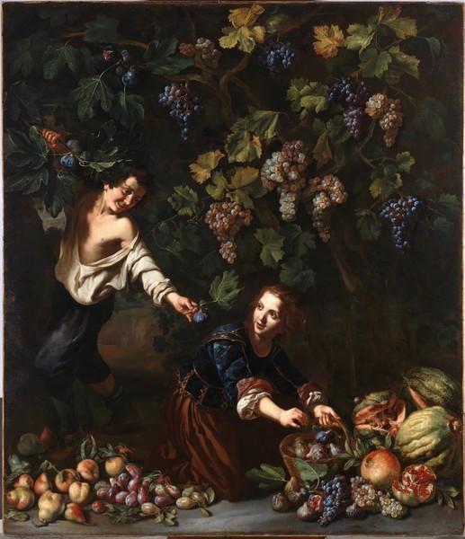 Muchachos cogiendo fruta