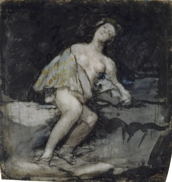 Joven semidesnuda recostada en una roca