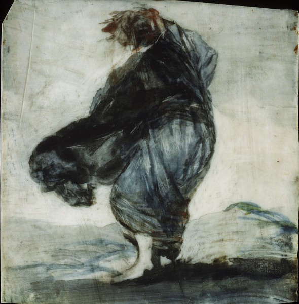 Woman with Clothes Blowing in the Wind (Mujer con los vestidos inflados por el viento)