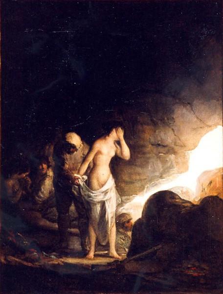 Bandido desnudando a una mujer