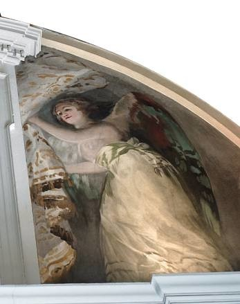 Angel located in the left-hand section of the south-eastern lunette of the transept