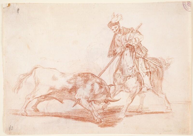 El Cid Campeador lanceando otro toro (dibujo preparatorio 1)