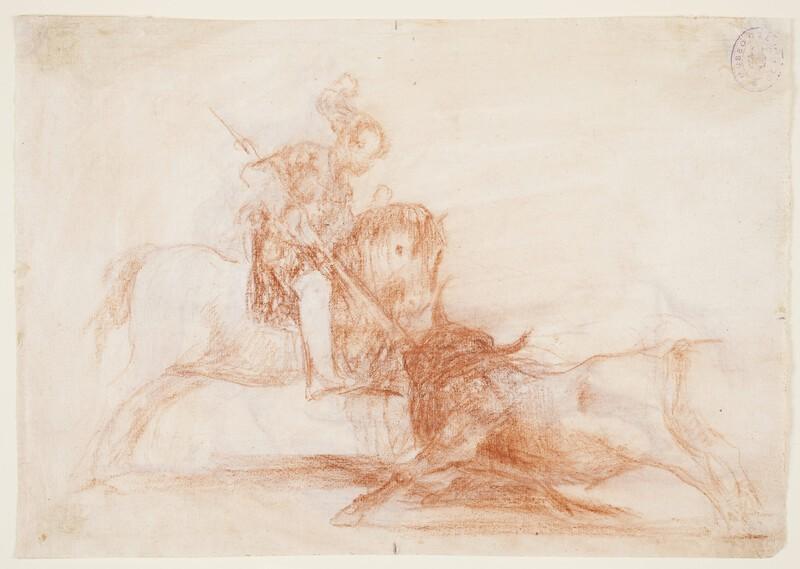 El Cid Campeador lanceando otro toro (dibujo preparatorio 2)