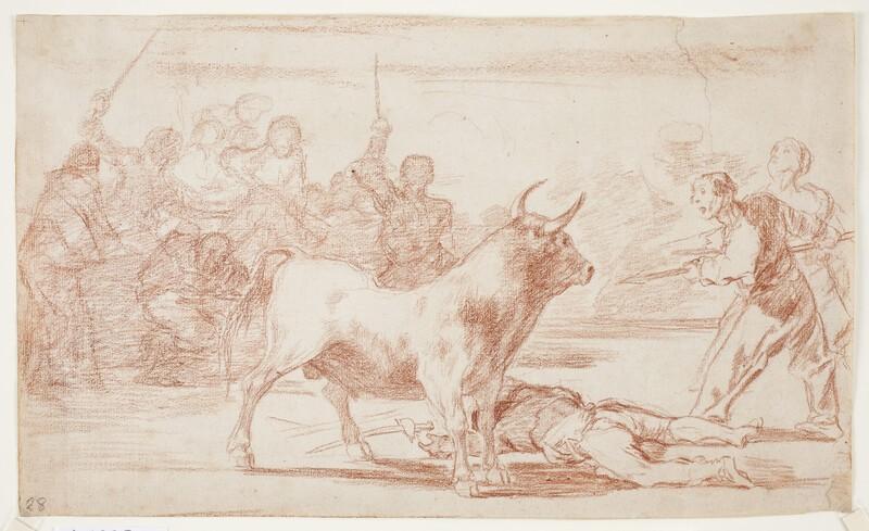 Desjarrete de la canalla con lanzas, medias-lunas, banderillas y otras armas (dibujo preparatorio)