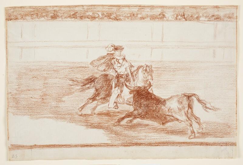 Un caballero español en plaza quebrando rejoncillos sin auxilio de los chulos (dibujo preparatorio)