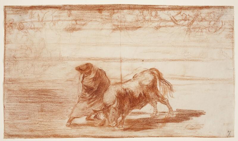 El diestrísimo estudiante de Falces, embozado burla al toro con sus quiebros (dibujo preparatorio)