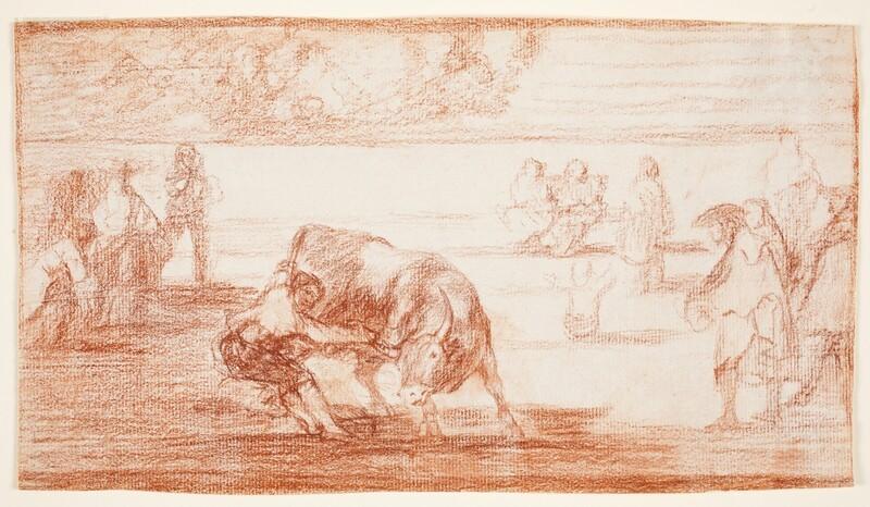 El mismo vuelca un toro en la plaza de Madrid (dibujo preparatorio)