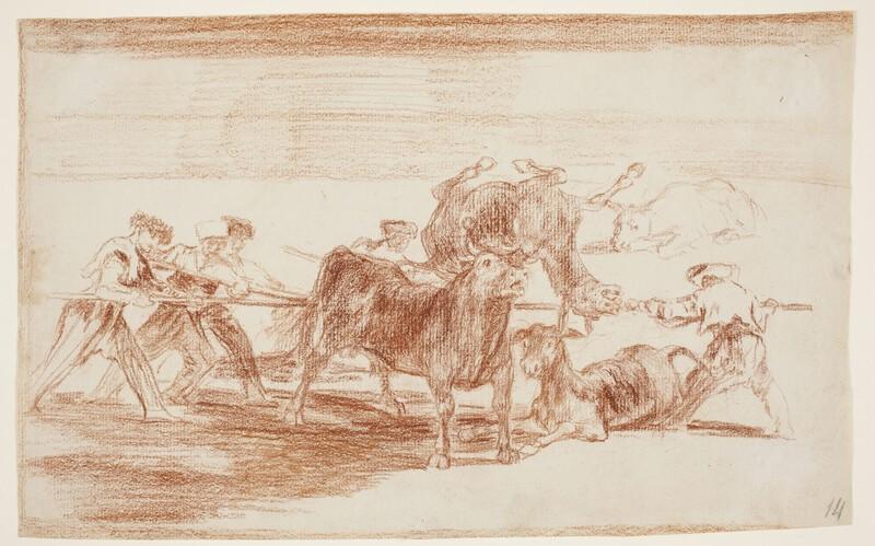 Palenque de los moros hecho con burros para defenderse del toro embolado (dibujo preparatorio)