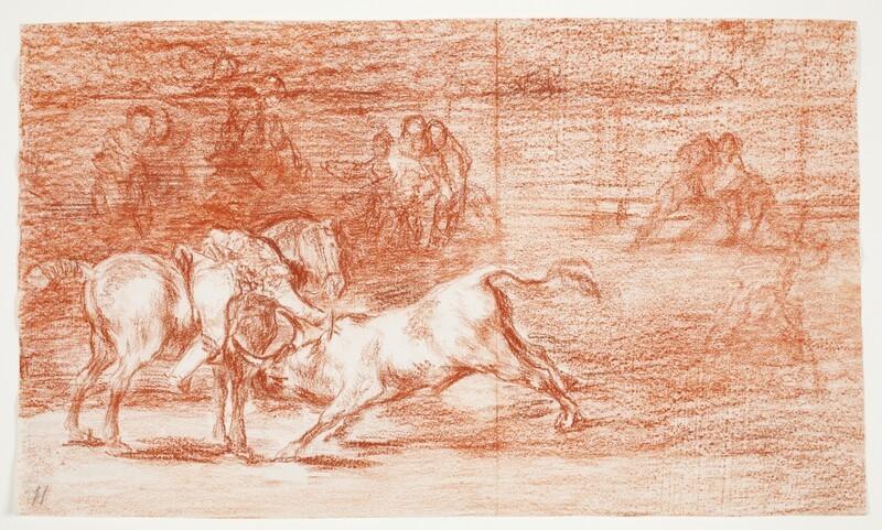 Mariano Ceballos, alias el Indio, mata el toro desde su caballo (dibujo preparatorio)
