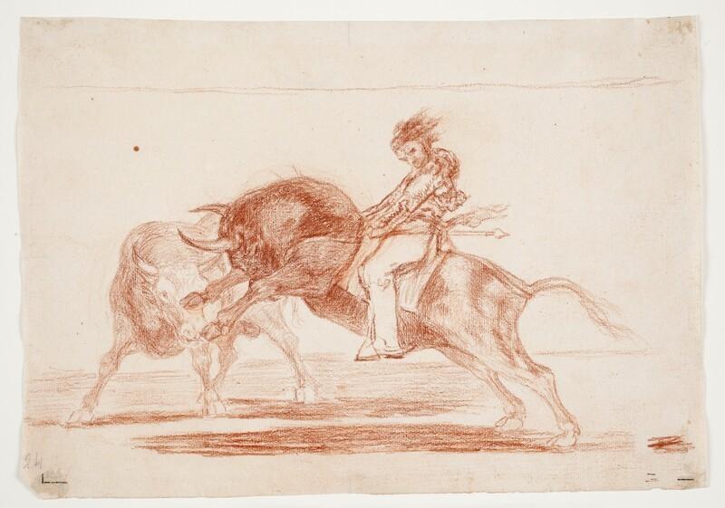El mismo Ceballos montado sobre otro toro quiebra rejones en la plaza de Madrid (dibujo preparatorio)