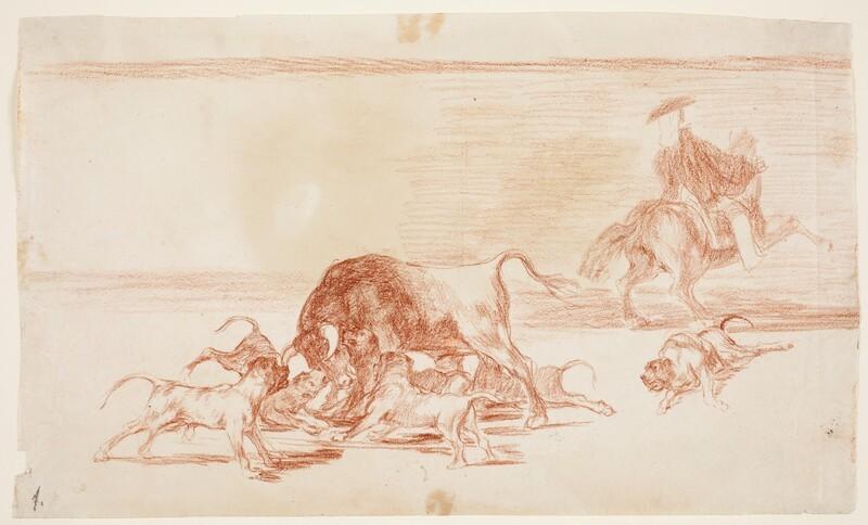 Echan perros al toro (dibujo preparatorio)