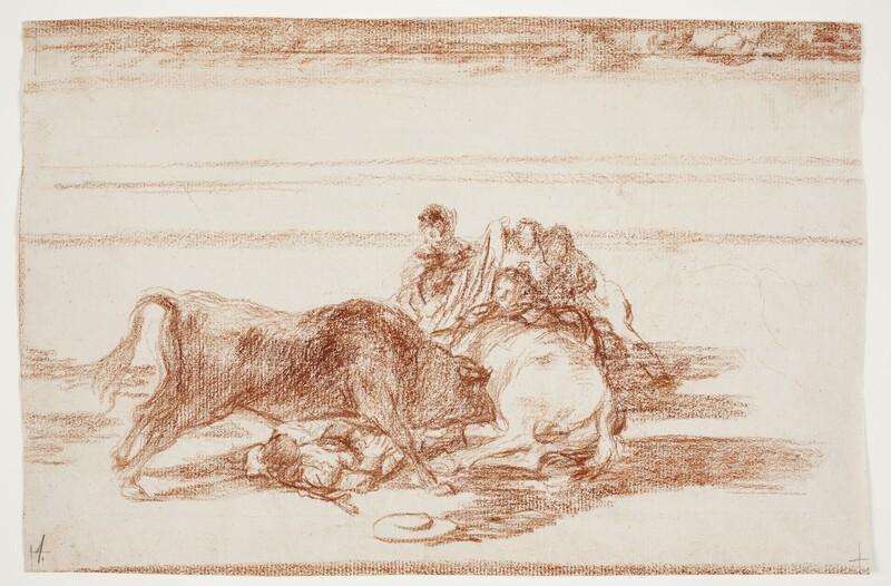 Caída de un picador de su caballo debajo del toro (dibujo preparatorio)