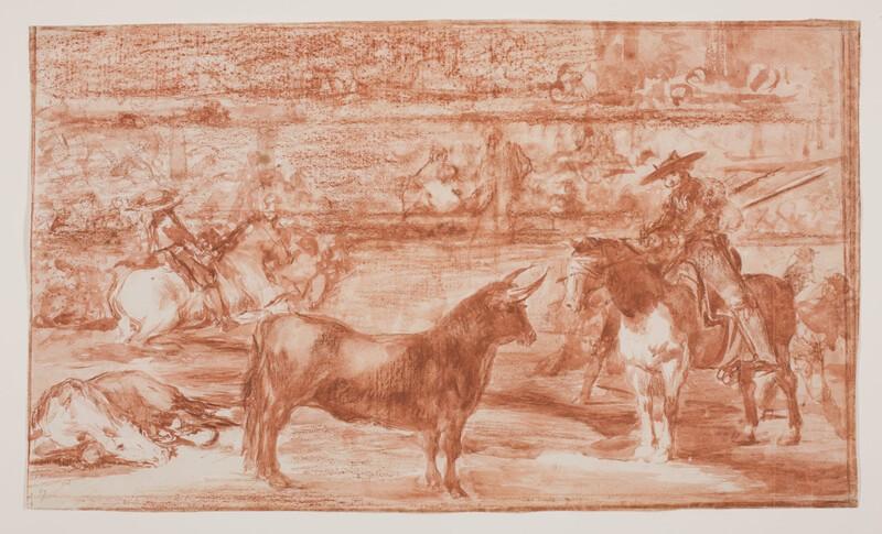 El célebre Fernando del Toro, barilarguero, obligando á la fiera con su garrocha(dibujo preparatorio)