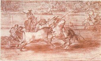 El esforzado Rendón picando un toro de cuya suerte murió en la plaza de Madrid (dibujo preparatorio)