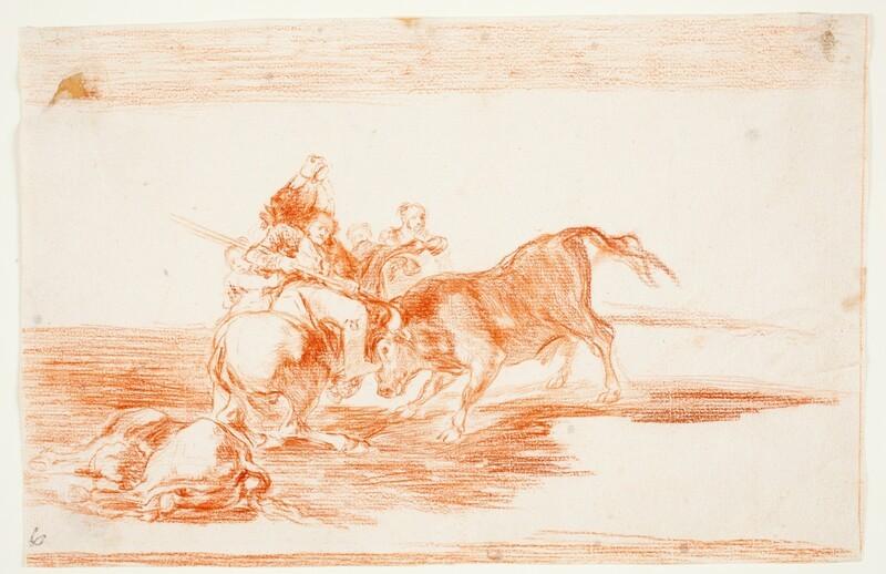 Dos grupos de picadores arrollados de seguida por un solo toro (dibujo preparatorio 1)