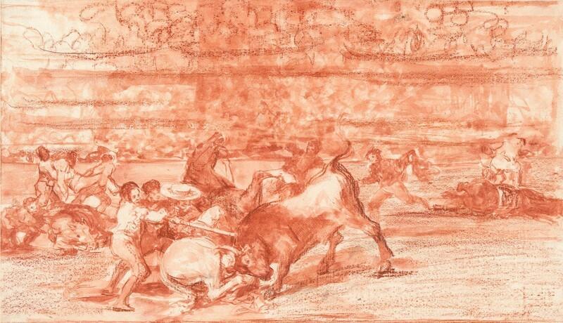 Dos grupos de picadores arrollados de seguida por un solo toro (dibujo preparatorio 2)
