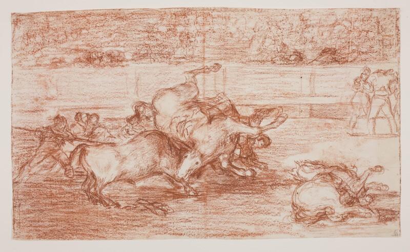 Desgraciada embestida de un poderoso toro (Tauromaquia B) (dibujo preparatorio)