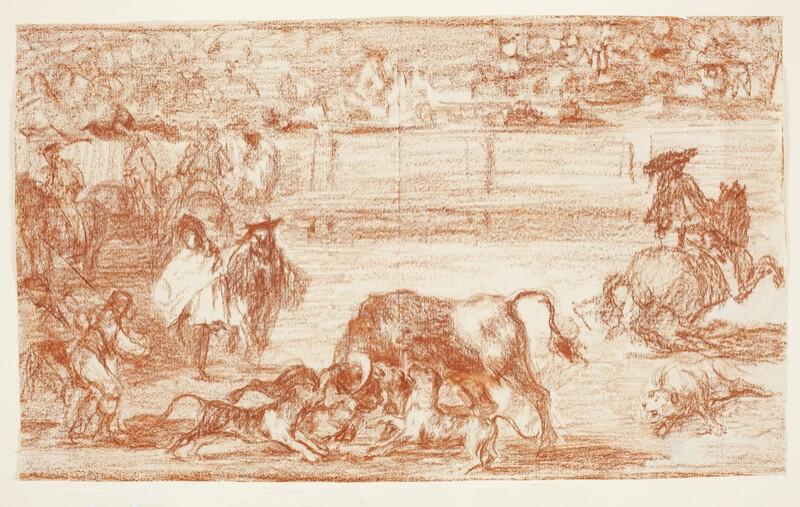 Perros al toro (Tauromaquia C) (dibujo preparatorio)