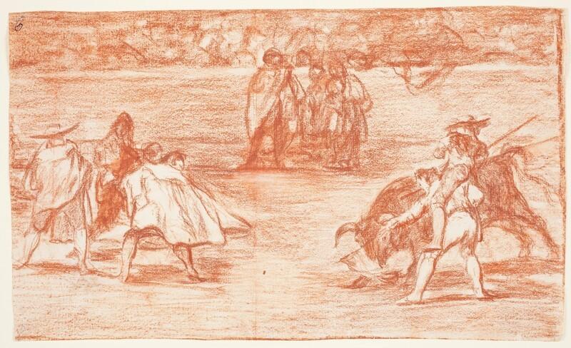 Varilarguero a hombros de un chulo, picando a un toro (Tauromaquia D) (dibujo preparatorio)