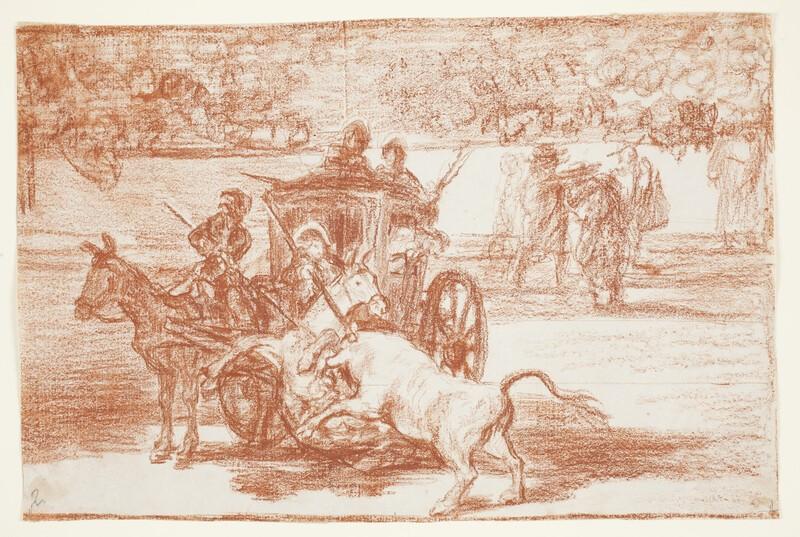 Combate de un coche enjaezado con dos mulos (Tauromaquia G) (dibujo preparatorio)