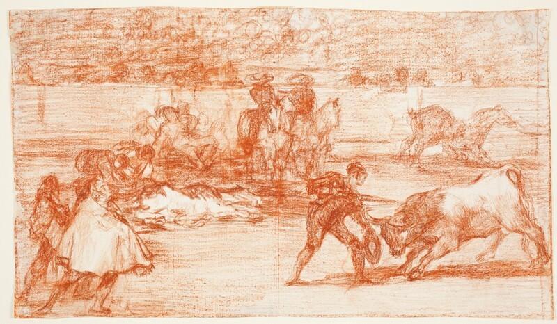 Un diestro entrando a matar con un sombrero en la mano en lugar de una muleta (Tauromaquia I) (dibujo preparatorio)