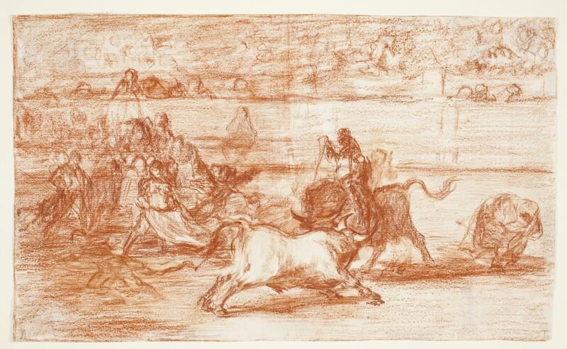 Mariano Ceballos montado sobre un toro poniendo un rejón (Tauromaquia J) (dibujo preparatorio)
