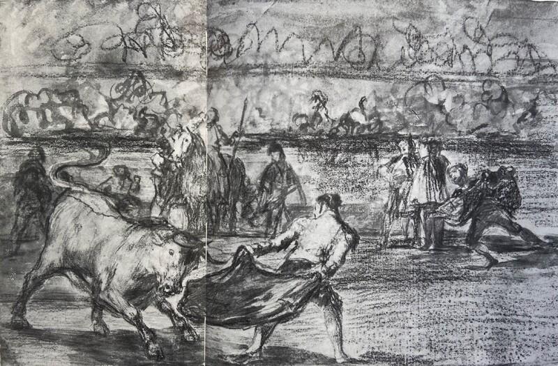 Un diestro toreando de frente por detrás (Tauromaquia K) (dibujo preparatorio)