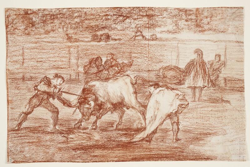 Un matador hunde el estoque agarrando al toro por un cuerno (Tauromaquia L) (dibujo preparatorio)