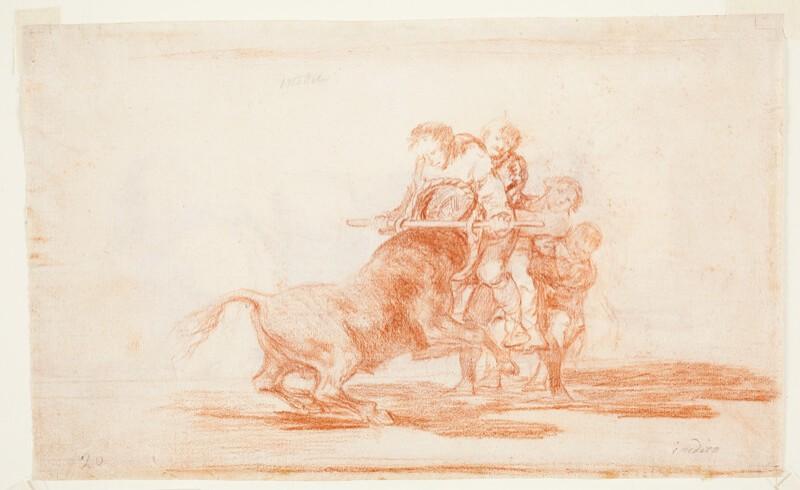 Cuatro personajes aguantan la embestida de un toro utilizando un cesto (dibujo preparatorio)