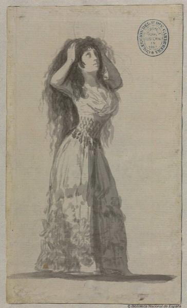 La duquesa de Alba recogiéndose el pelo