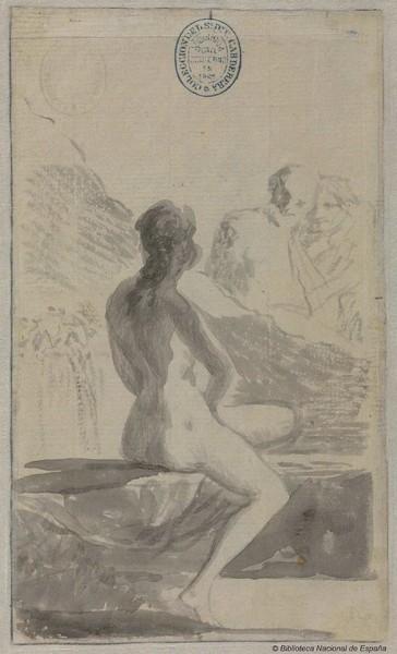 Mujer joven lavándose en la fuente