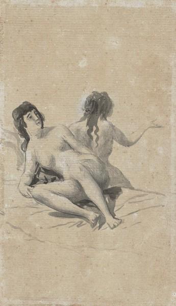 Dos jóvenes desnudas sobre un lecho