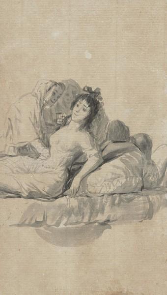 Dos viejas cuidando a una joven acostada