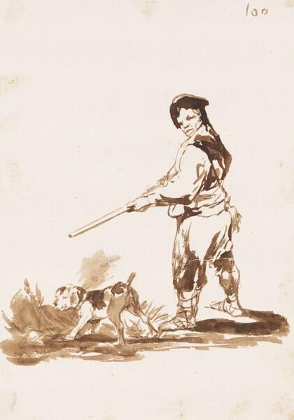 Cazador con su perro de muestra (F.100)