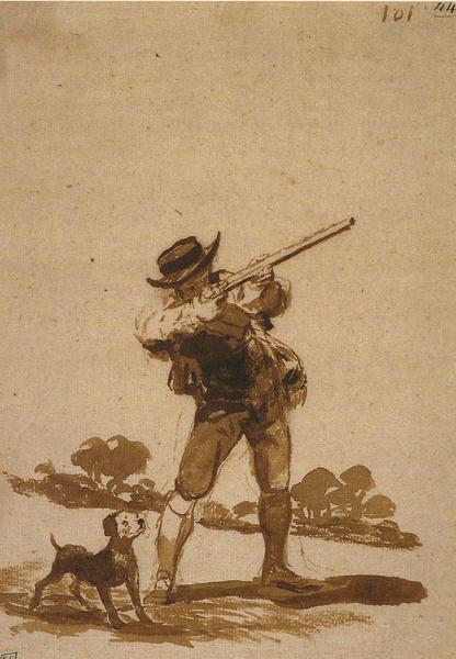 Cazador apuntando con su perro observando (F.101)