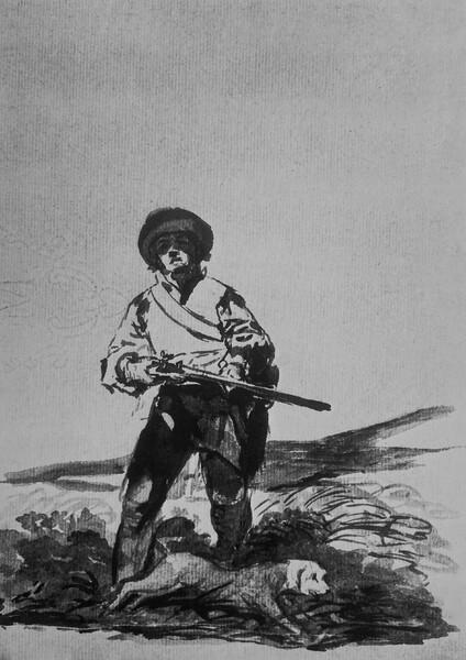 Cazador en un pantano con su perro (F.102)