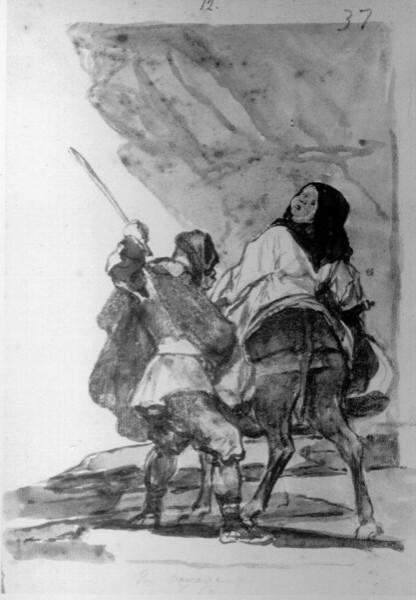 Hombre pegando a una mula montada por un monje (F.37)