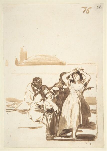 Mujer desmelenada en medio de un grupo (F.76)