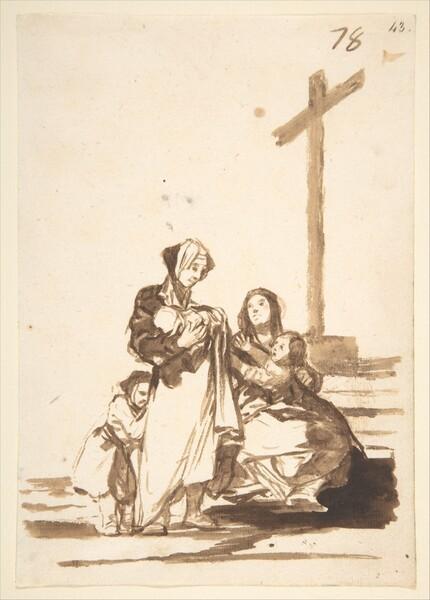 Mujeres y niños al pie de una cruz (F.78)