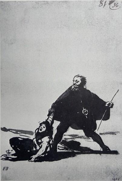 Alguacil arrastrando a una mujer por el brazo (F.81)
