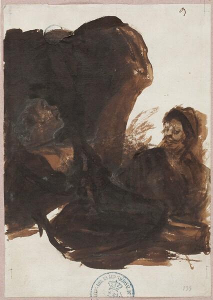 Dos figuras al abrigo de un peñasco (F.9)