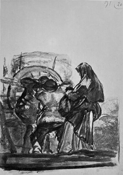 Una mujer y dos hombres junto a un carro (F.91)
