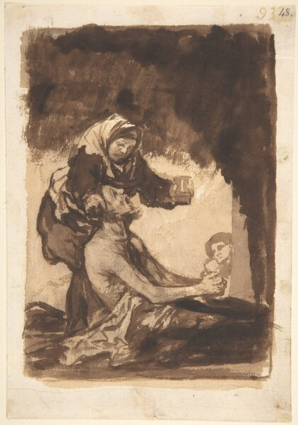Mujer ofreciendo un vaso a un anciano (F.93)
