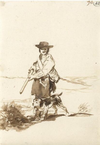 Cazador con su perro en un paisaje (F.96)