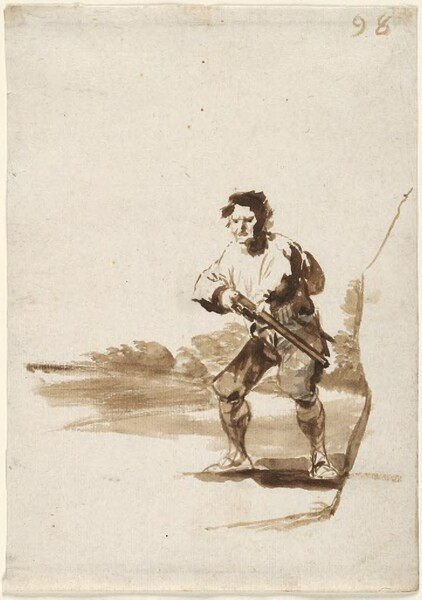 Cazador levantando su escopeta (F.98)