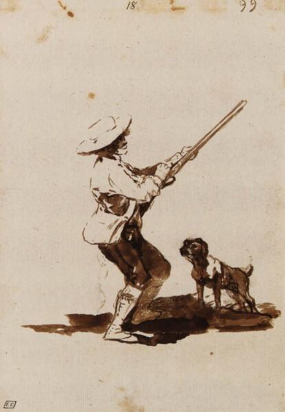 Cazador cargando su escopeta acompañado de su perro (F.99)