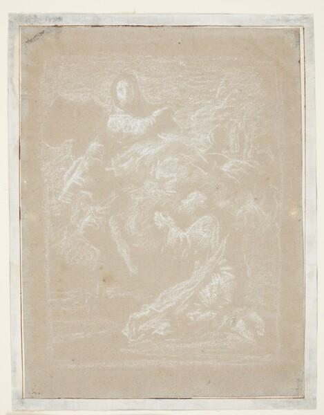 Aparición de la Virgen del Pilar a Santiago y los convertidos (dibujo preparatorio)