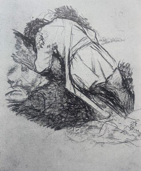 Soldado herido apoyado contra un árbol (H.36)