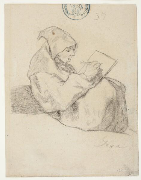 Fraile dibujando con un compás (H.37)